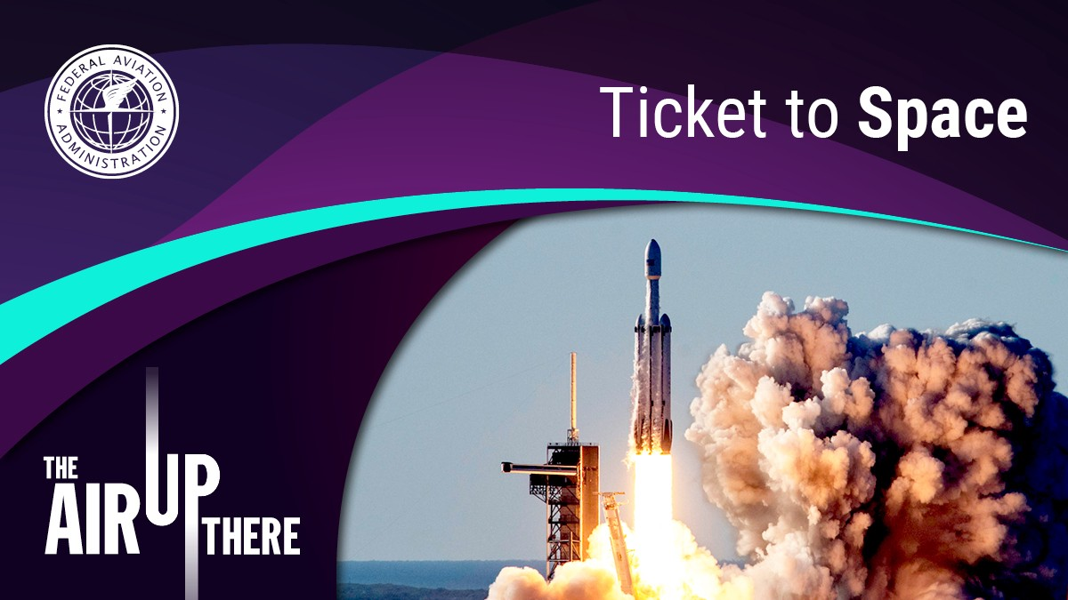 Ticket to Space podcast cover art displays a rocket launch.