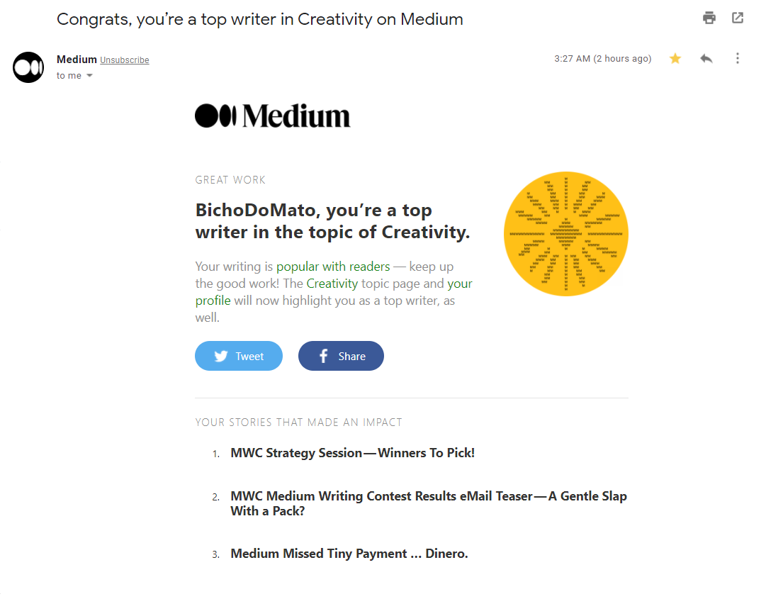 Hi there! BichoDoMato here. Screen shot of a Medium e-mail announcing I was top writer in Creativity. Yeah!