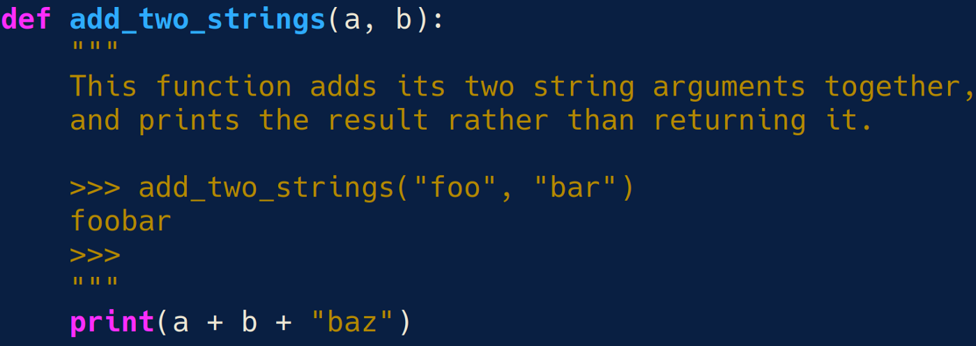 A screenshot of a simple Python function, with a working doctest. This function is included as text further down.