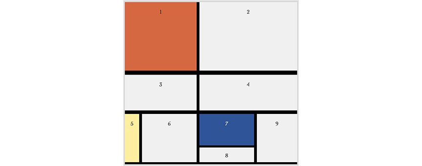 A thumbnail image of Mondrian's painting in white, black, red, yellow, and blue, re-created in html & css.