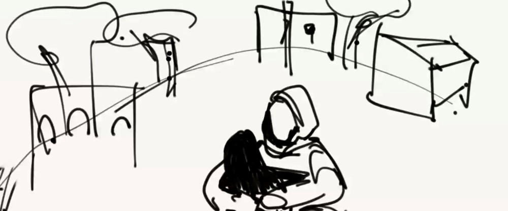 An illustrative drawing of a woman holding a child.