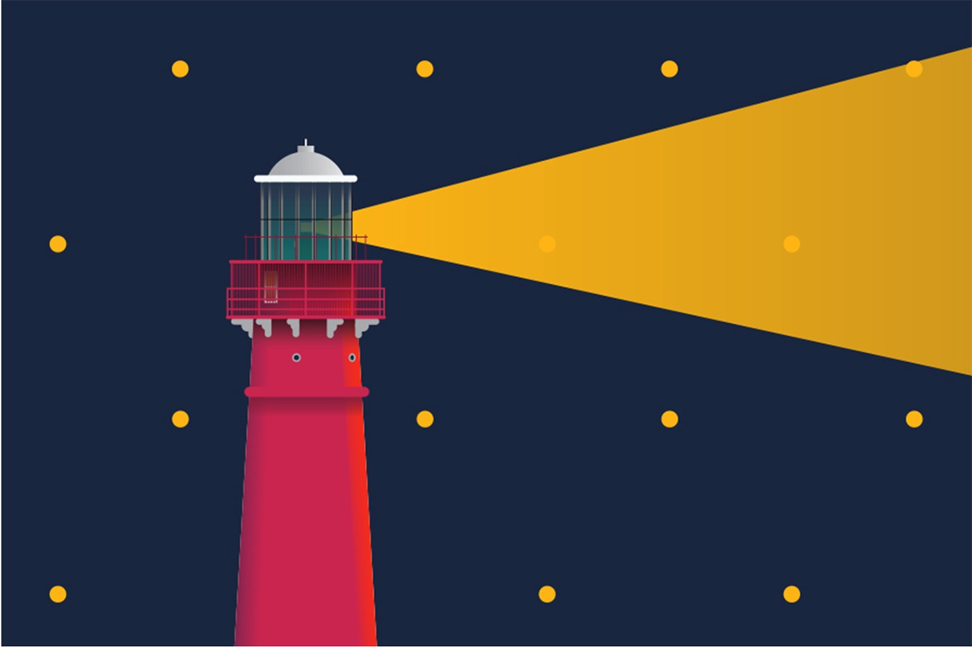 Colorful illustration of a lighthouse with a beam of light coming from it