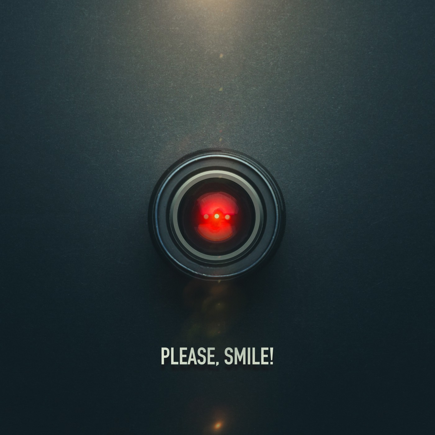 """A glowing red AI with the caption """"Please. Smile!"""""""