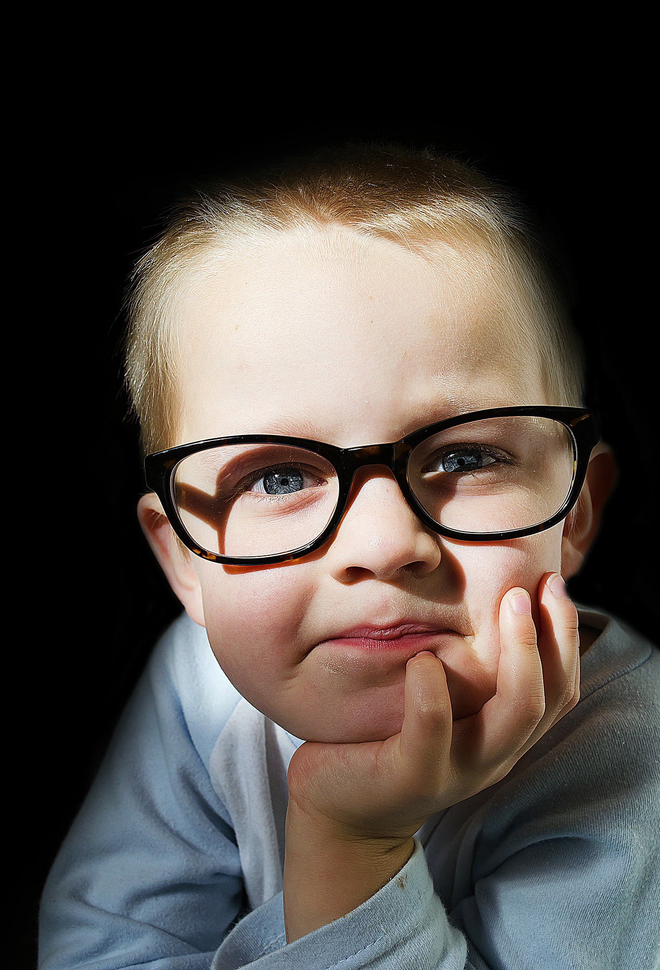 Little boy with glasses looking into camera