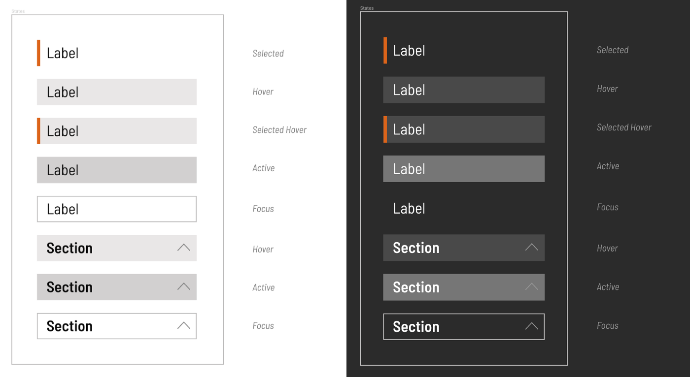 UI elements on a light and dark background