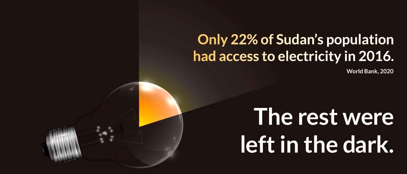 An image showing only part of a light bulb lit up to highlight that only 22% of sudan's population had access to electricity in 2016. (World Bank)