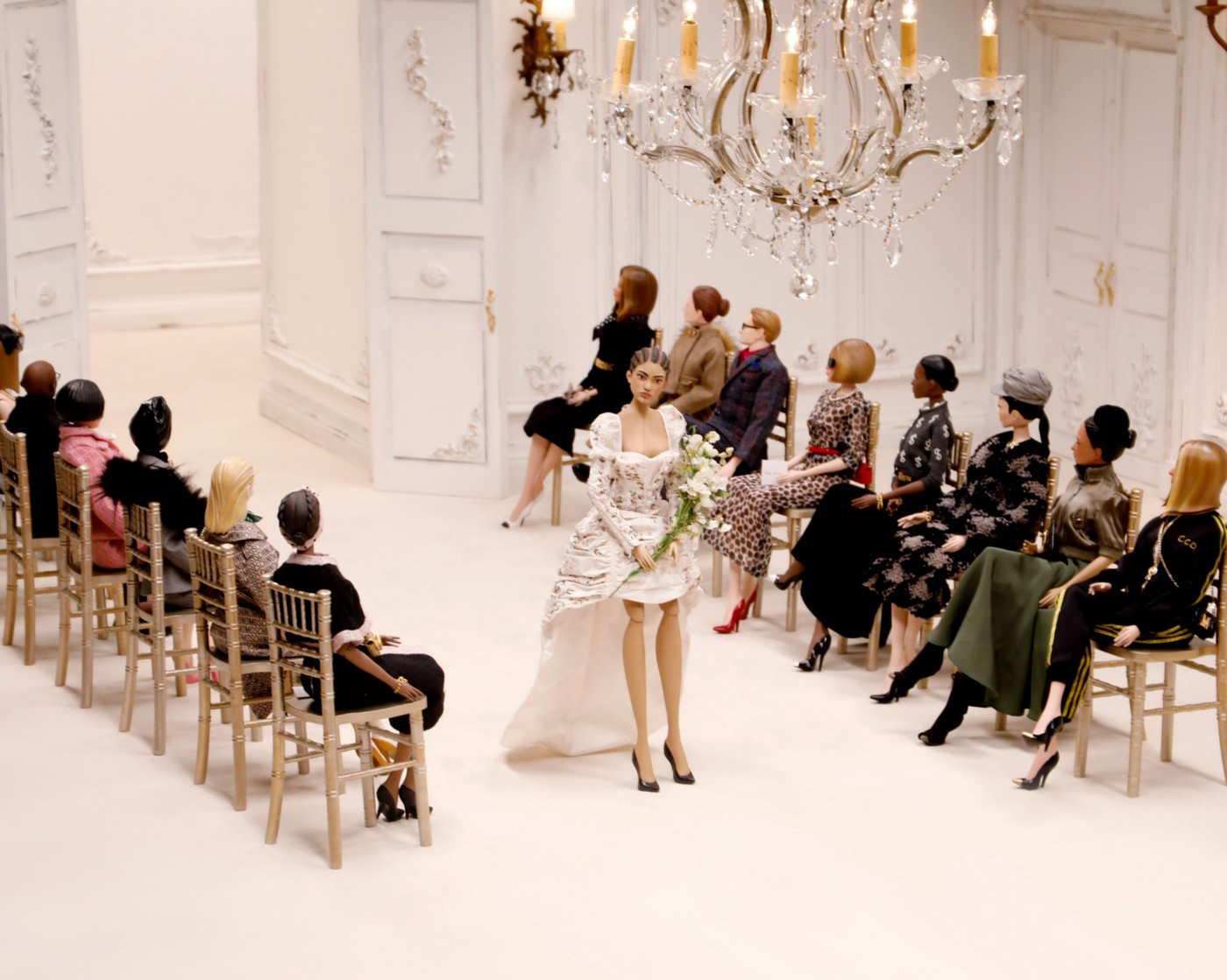 The Moschino puppet fashion show, with marionette models and audience