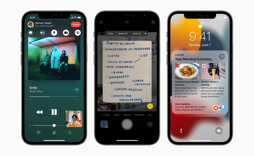 FaceTime, Live text and new notification window in new Apple iOS 15.