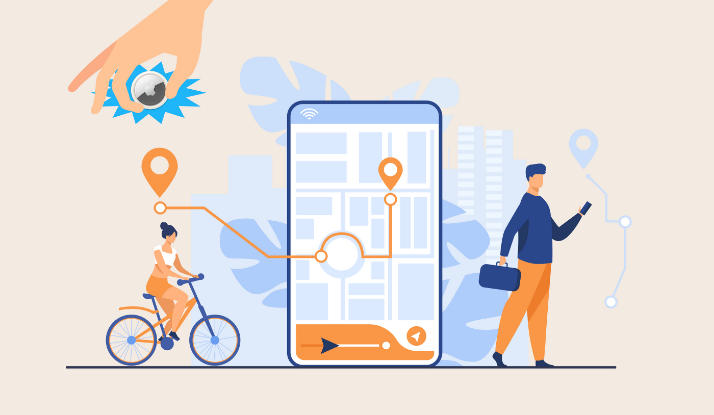 Cartoon image with man looking at a phone, a woman cycling, and a superimpose image of a phone showing a map of where the woman is cycling. A hand holding an Apple Airtag is visible above the scene.