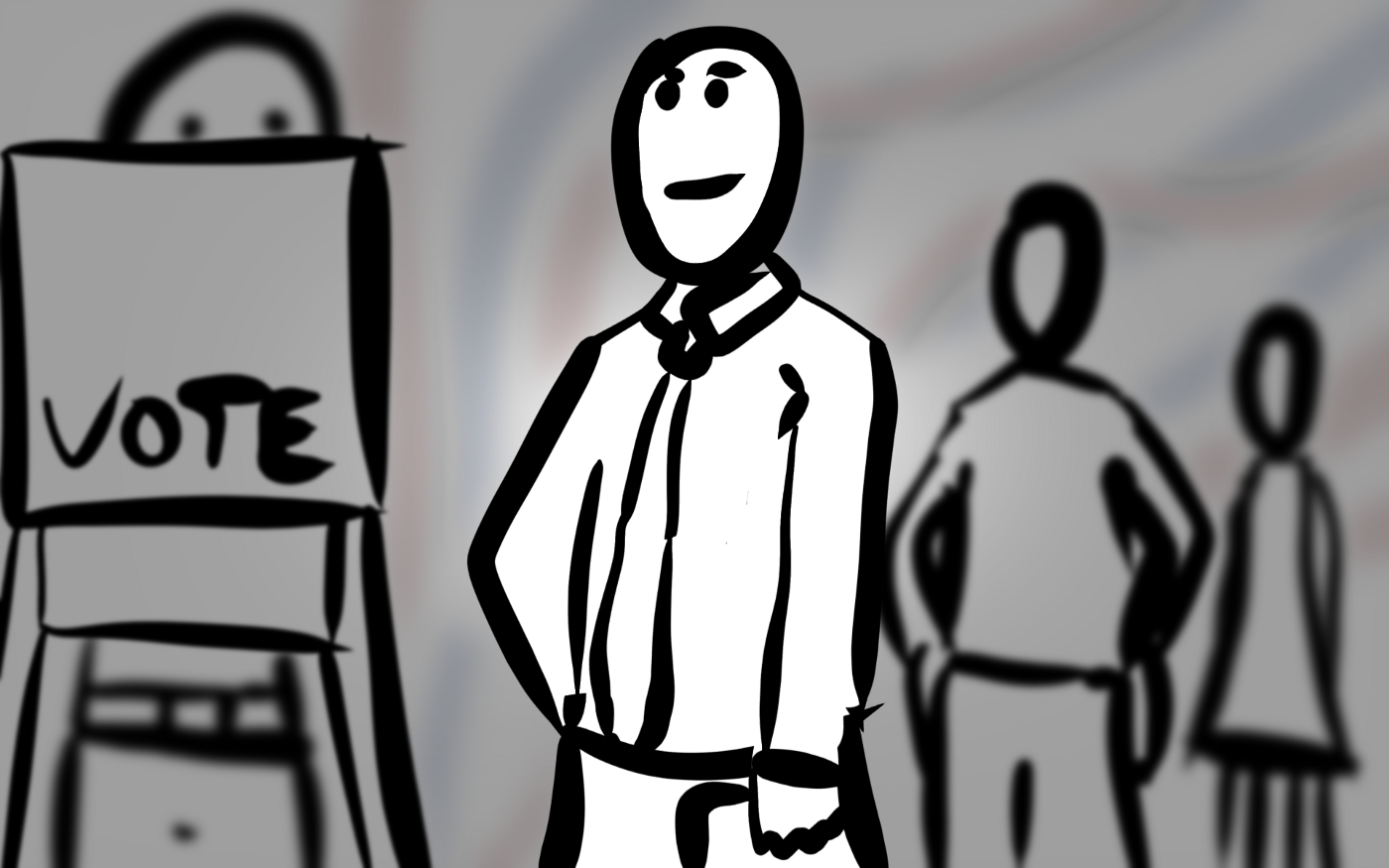 Stylistic illustration of person waiting in line to vote.
