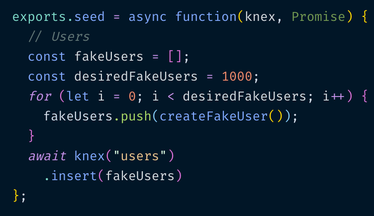 Seeding your Database with Thousands of Users using Knex js and Faker js