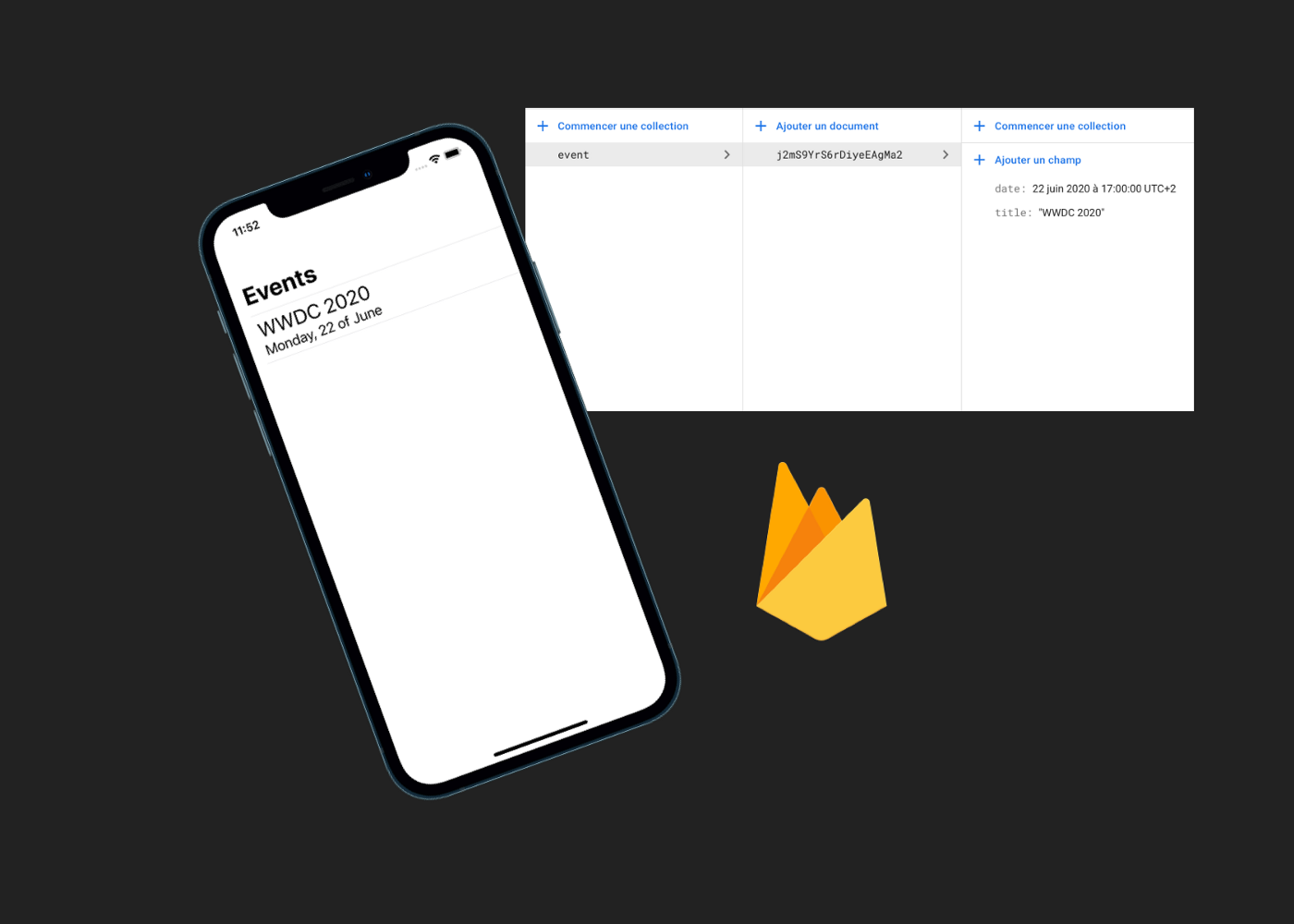 iPhone with screenshot from Firestore database and Firebase logo