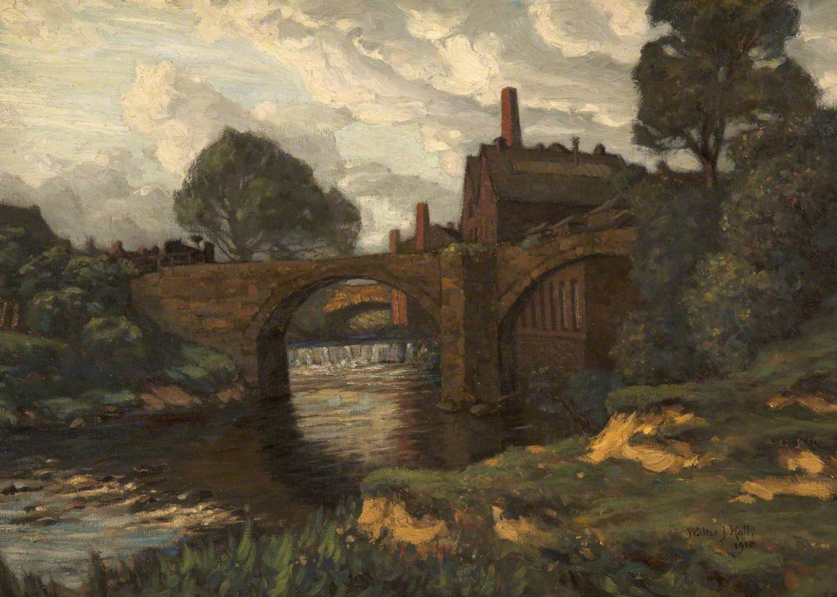 A painting of Old Blackford Bridge, from the embankment of the river by Walter J. Hall