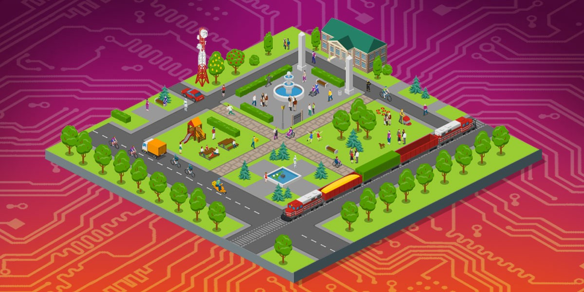 EFF's 'public interest internet' illustration: a 2.5-D gamelike image of a tile with a piece of city-grid on it including a train, a public square, a playground, a cellular tower, a library, and sports fields, floating on a background of a stylized circuit board.