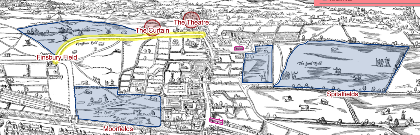 A screenshot of 2 playhouses and several greenspaces in London from the Agas Map (1561)