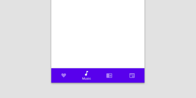 A bottom navigation bar with 4 options and a purple background. The music tab is highlighted to signify the Active State.