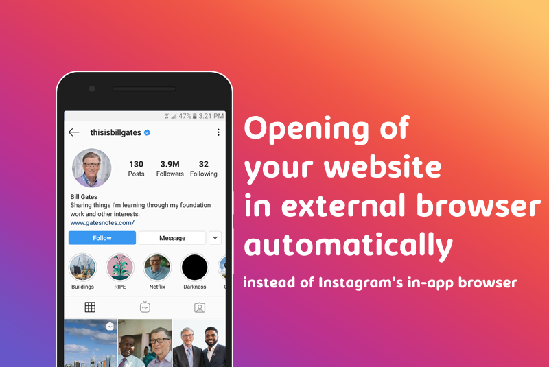 Opening of your website in the viewer's external browser automatically instead of Instagram's in-app browser