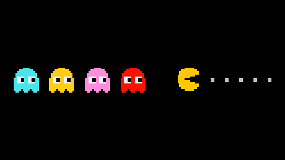 Pac-Man trying to eat pac-dots while evading Blinky, Inky, Pinky, and Clyde.