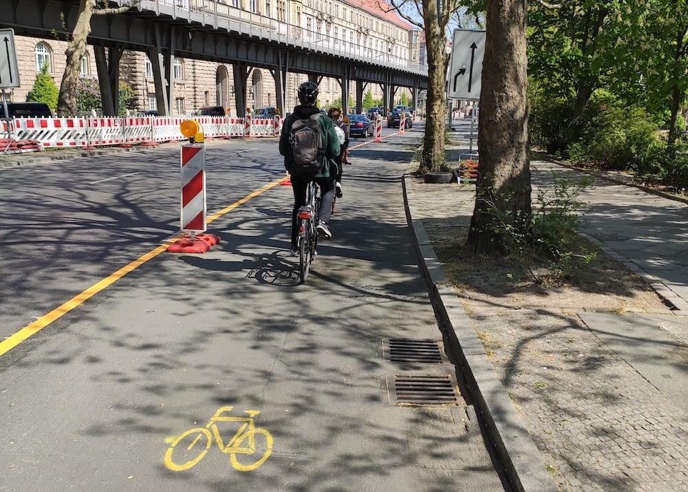 A pop-up bike lane in Berlin