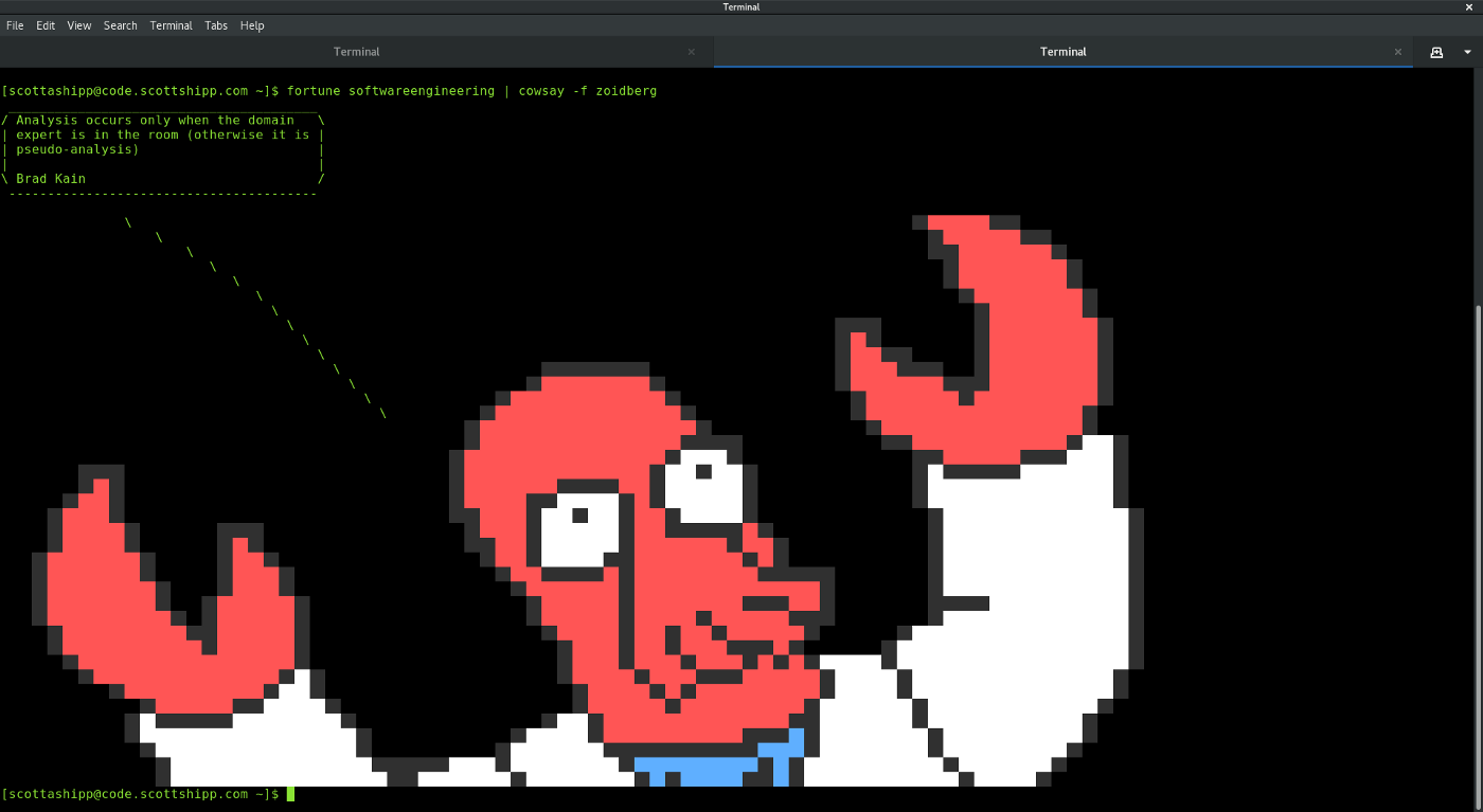 How I hacked my terminal so a happy whale would spout software