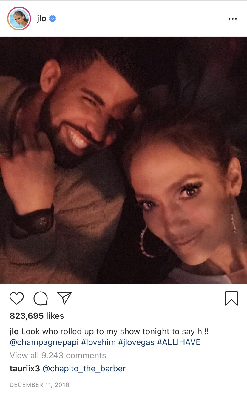 A screenshot of an Instagram selfie-style photo where J.Lo and Drake are both smiling at one of her concerts.