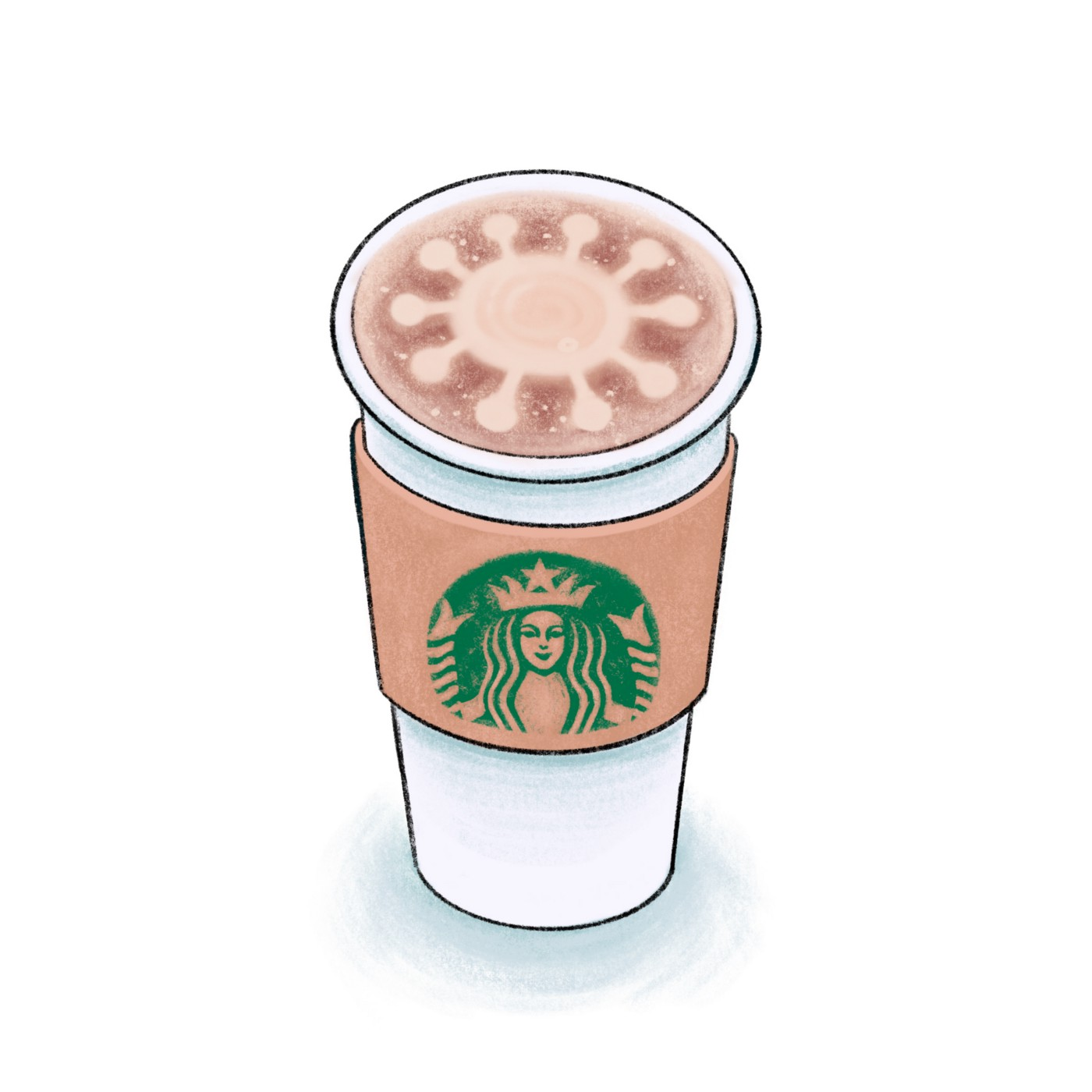 A graphic of a Starbucks venti to-go cup with latte foam art in the shape of the coronavirus.