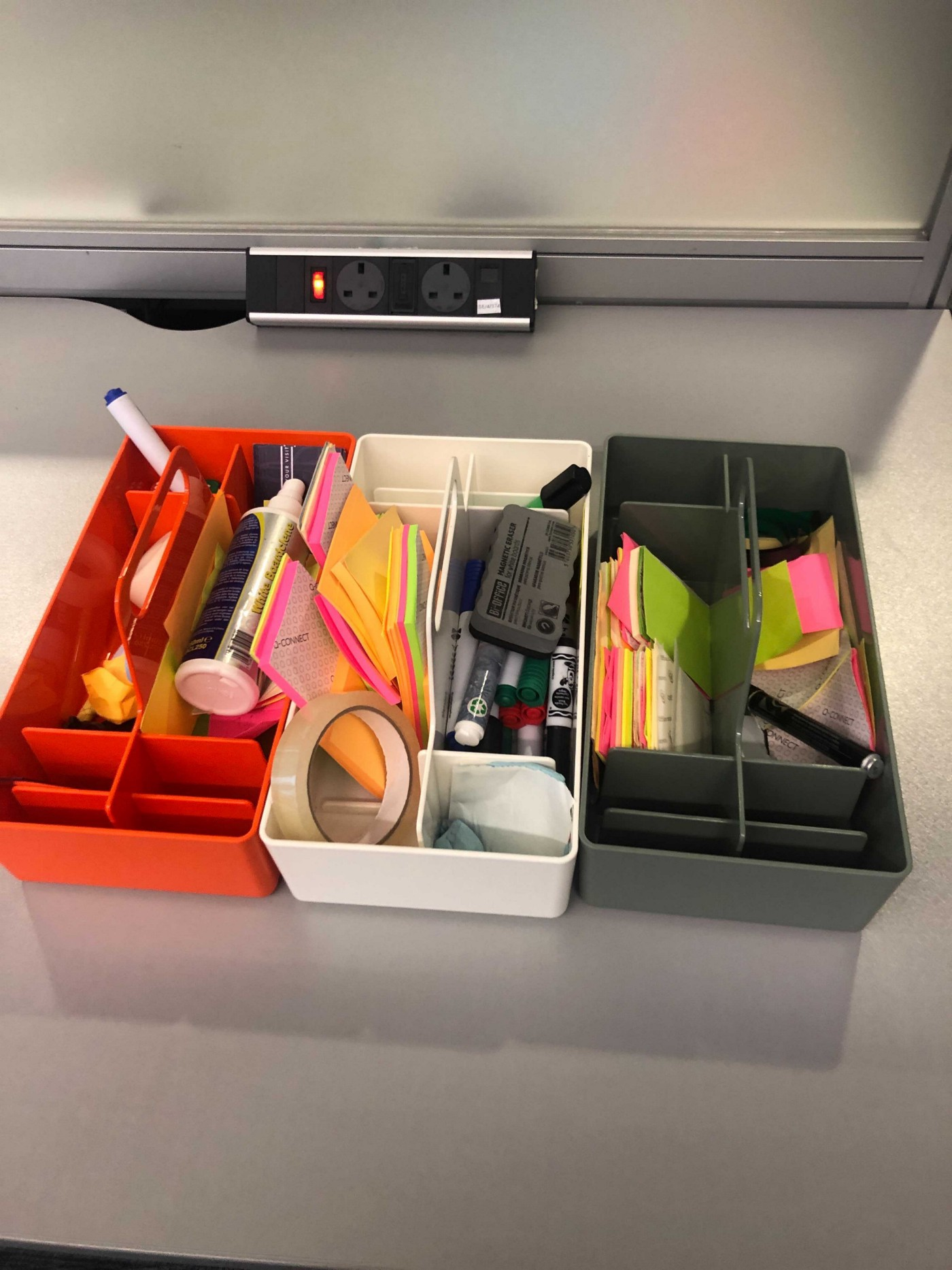 our lost stationery trays with all the goodies you'd expect, post it's pens etc