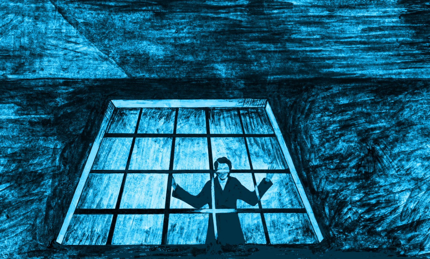 Blue-colored illustration of a person looking out froma prison cell.