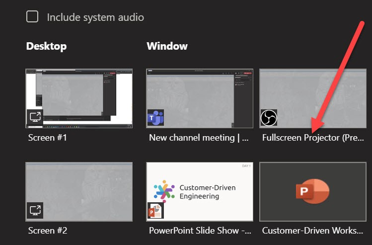 Screenshot of the Fullscreen Projector window in the share tray in Microsoft Teams