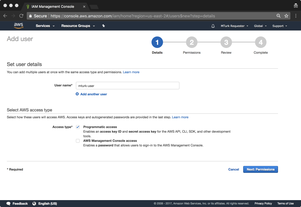 Tutorial: Setting up your AWS Account to make use of MTurk's API