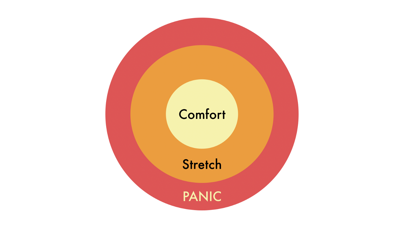 Comfort zone circle in the centre with the stretch zone one layer around of it and then panic zone one layer around that.