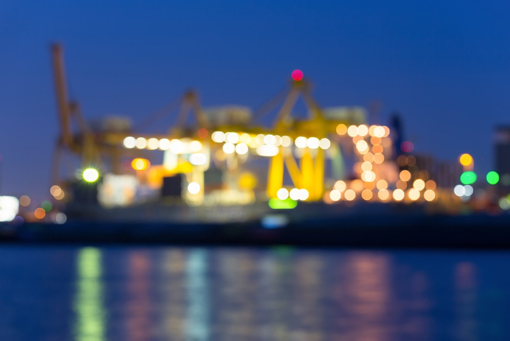 Blurred image of a seaport