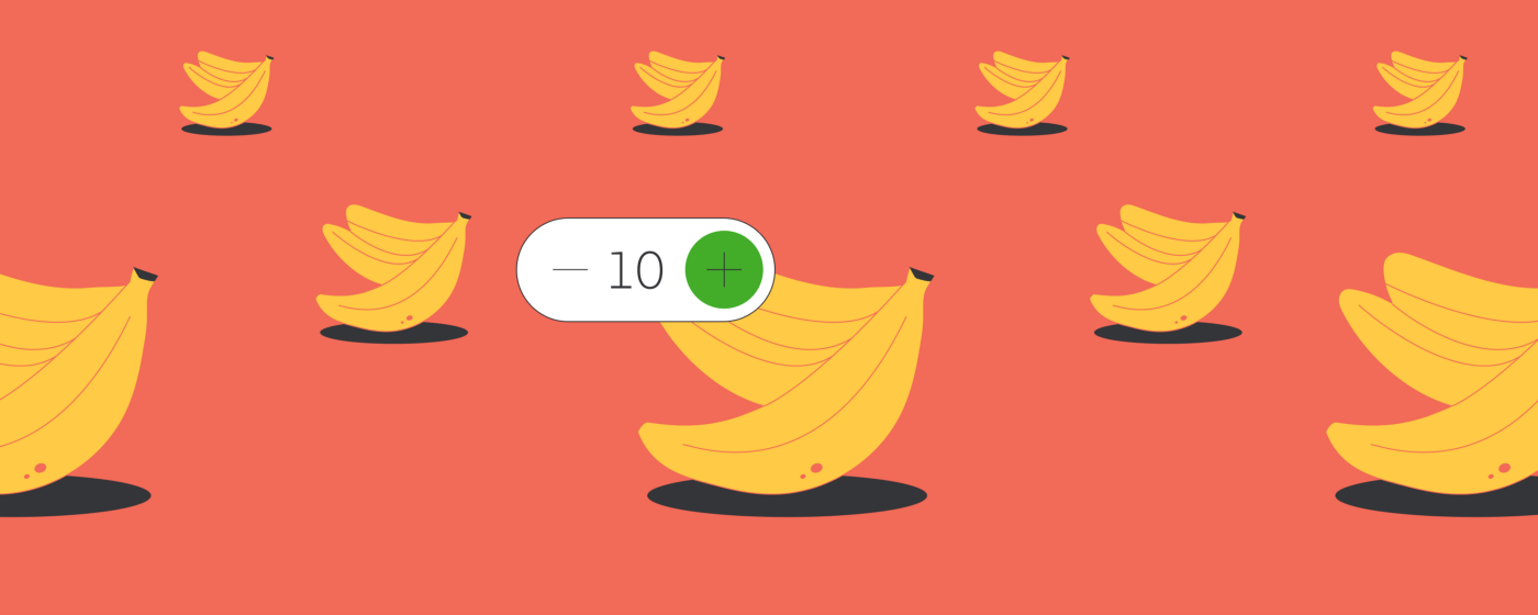 Image of bananas with a step counter indicating that the customer has ordered 10 bananas for the Instacart Shopper to purchase.