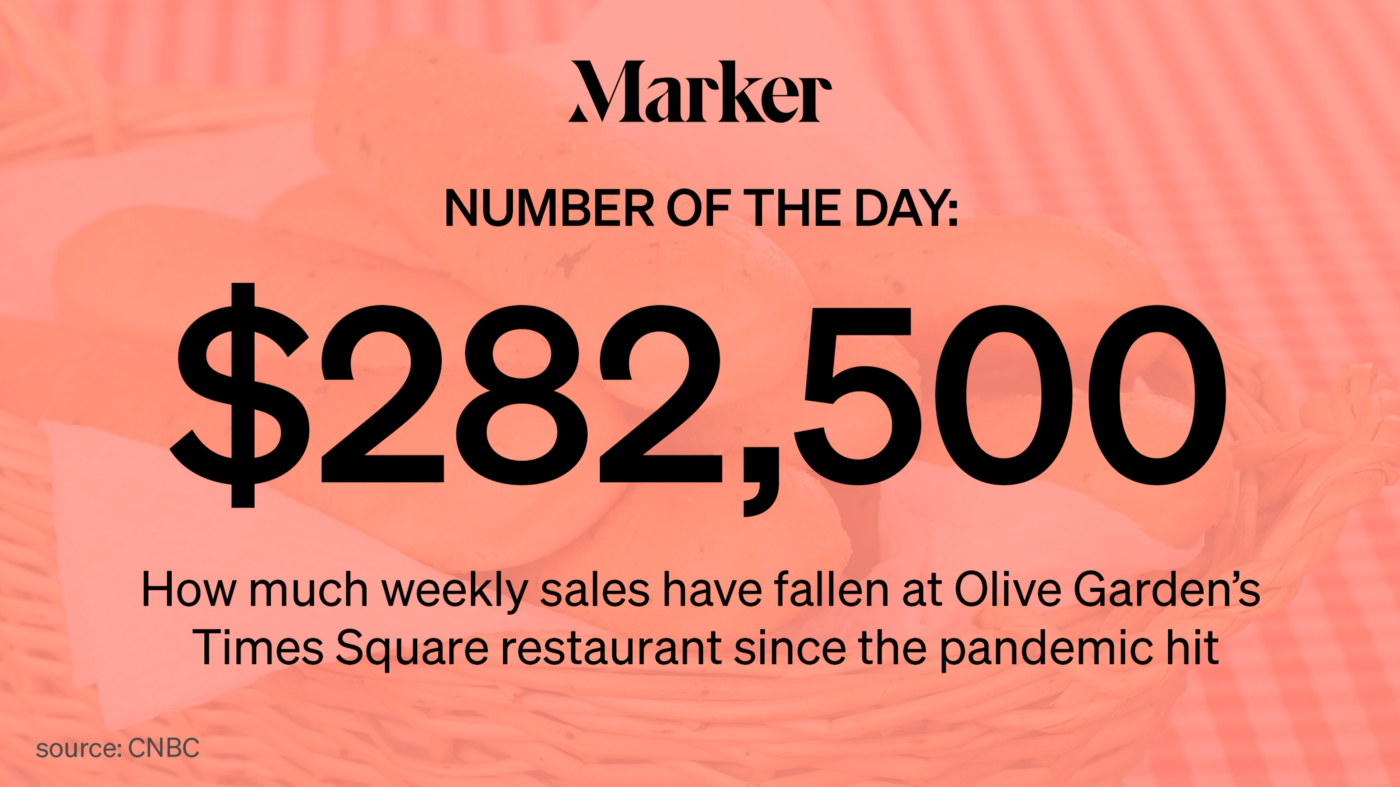 # of the Day: $282,500—How much weekly sales have fallen at Olive Garden's Times Square restaurant since the pandemic hit.