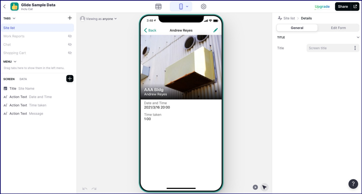 The final appearance of the built app.