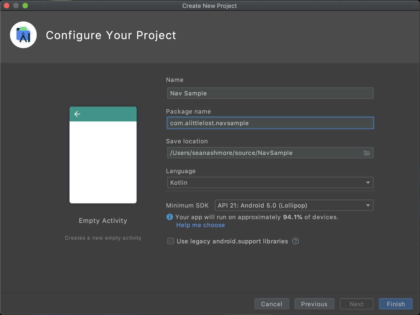 Android Studio project configuration screen