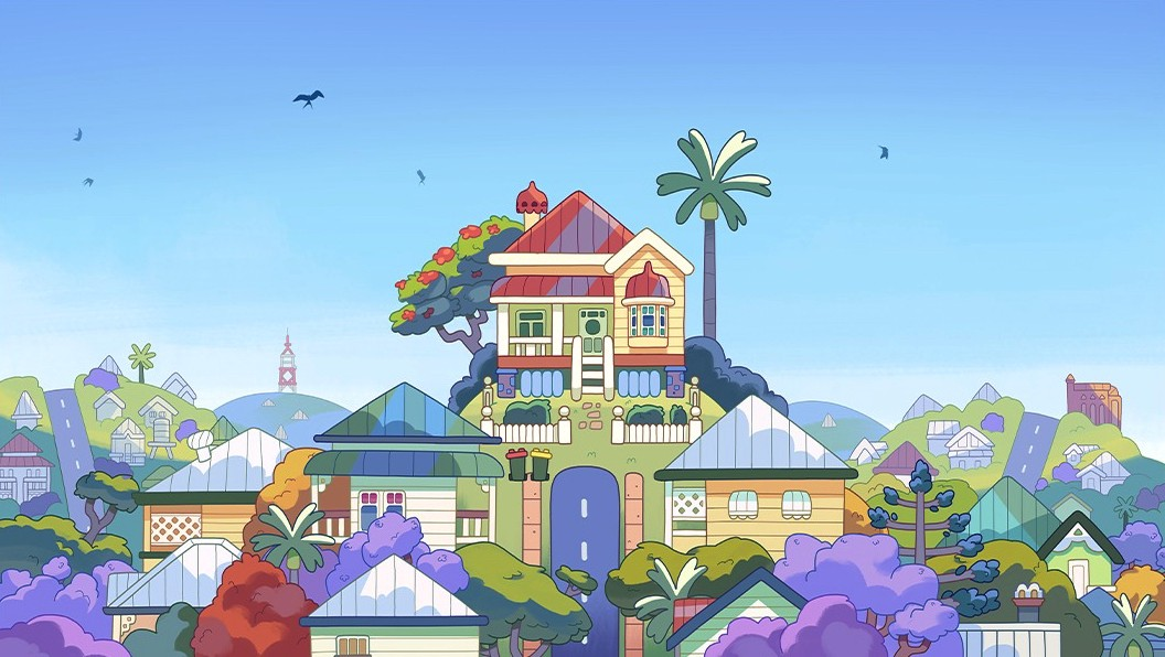 The animation house where Australian cartoon dog Bluey lives, perched on a hill surrounded by other houses and bright blue sky.