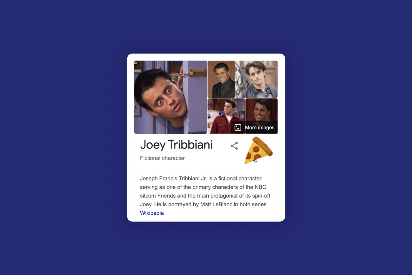 The Google search result for Joey Tribbiani with a hidden Easter Egg