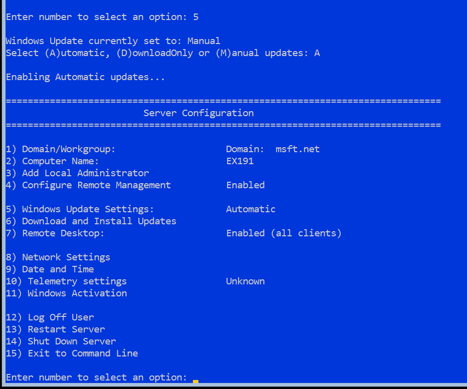 Patching Windows Server 2019 Core with Windows Update