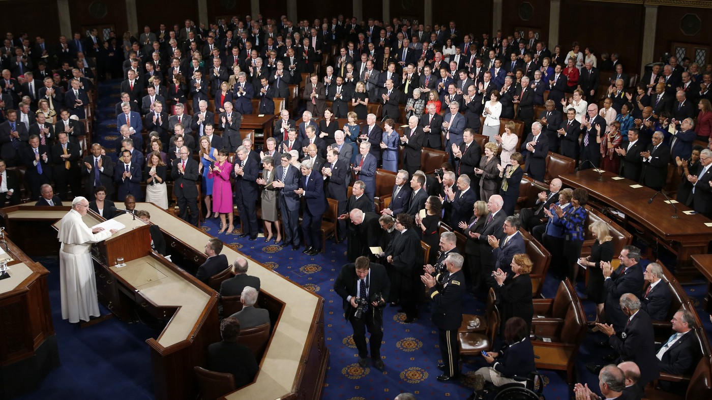 Pope Francis received a standing ovation after his address to the U.S. Congress in 2015.