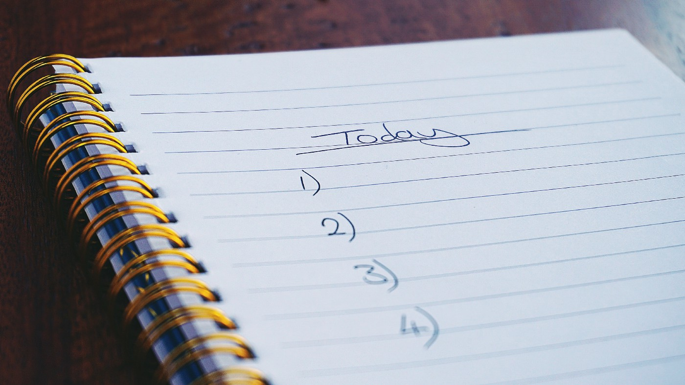 """Notepad with a list numbered 1–4 with label """"today"""""""