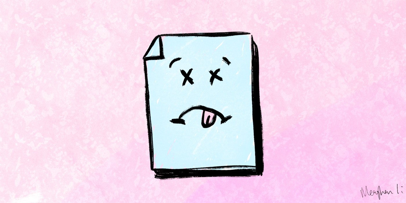 Image of a piece of paper with a sad face on it