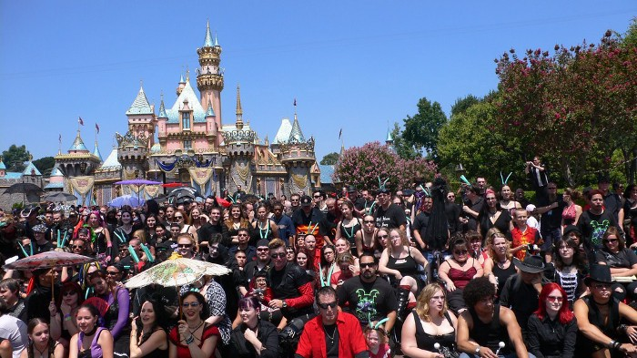 A crowd of goths in front of the Disneyland castle posed for a group photo at the 2007 'Bat's Day in the Fun Park.'
