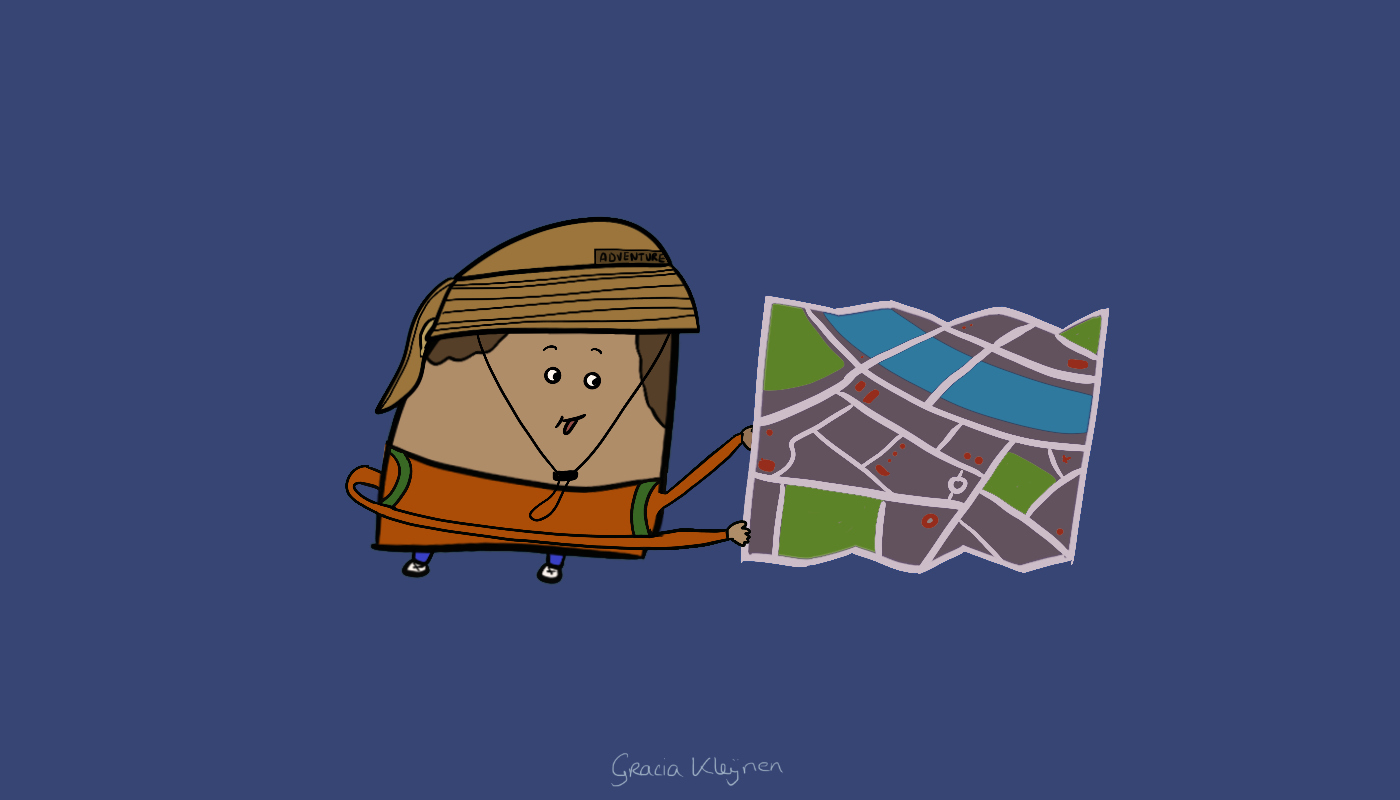 Character sticking its tongue out, wearing a backpack, an adventurer's hat and a map.