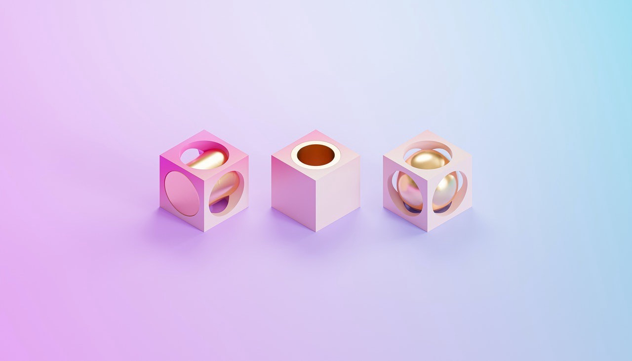 Pink and blue geometric shapes