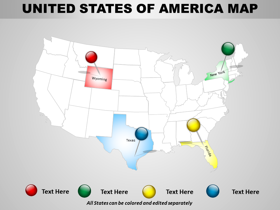 USA Country PowerPoint Map Design