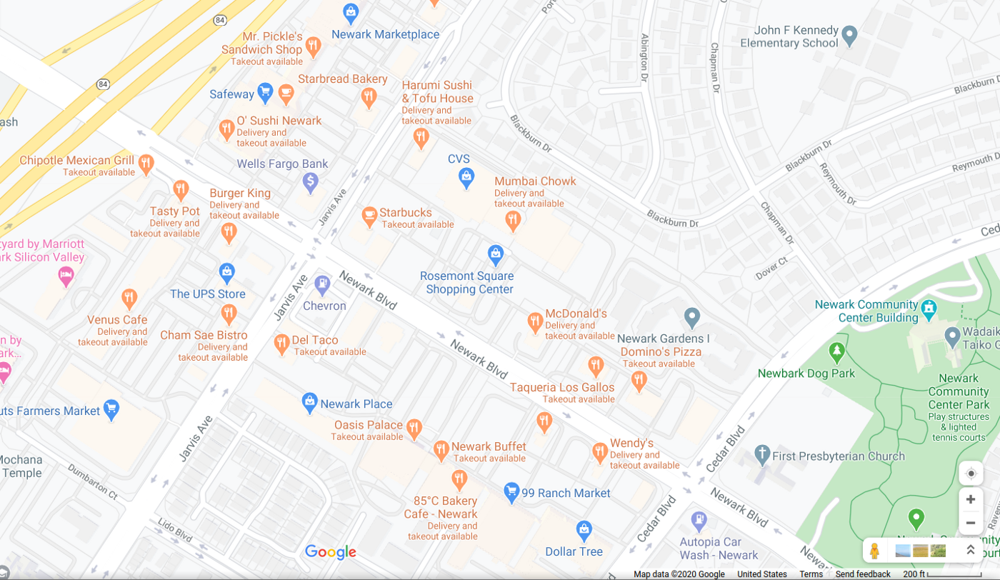 Screenshot of Google Maps intersection of CA84 and Jarvis Avenue in Newark, CA, shopping center area.