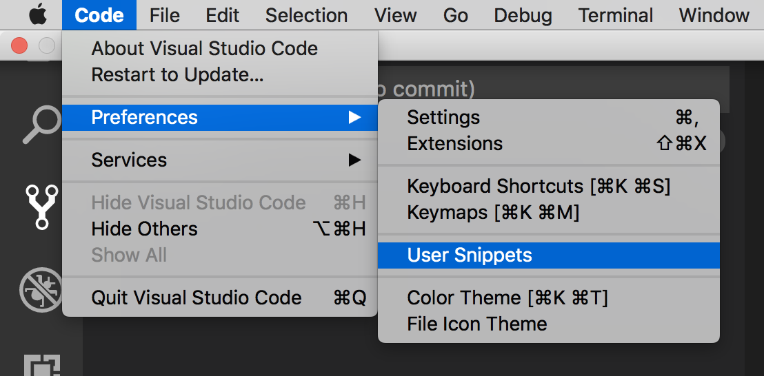 vscode snippets shortcut