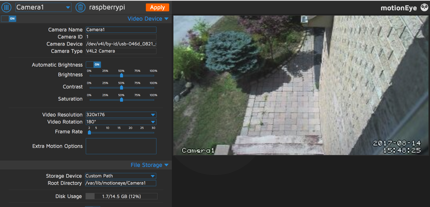 Raspberry Pi and MotionEye – Setting up your own video surveilance