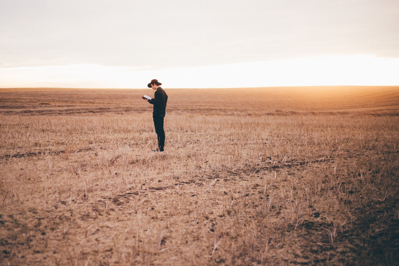 lone man standing out in a wheat field plain holding a book